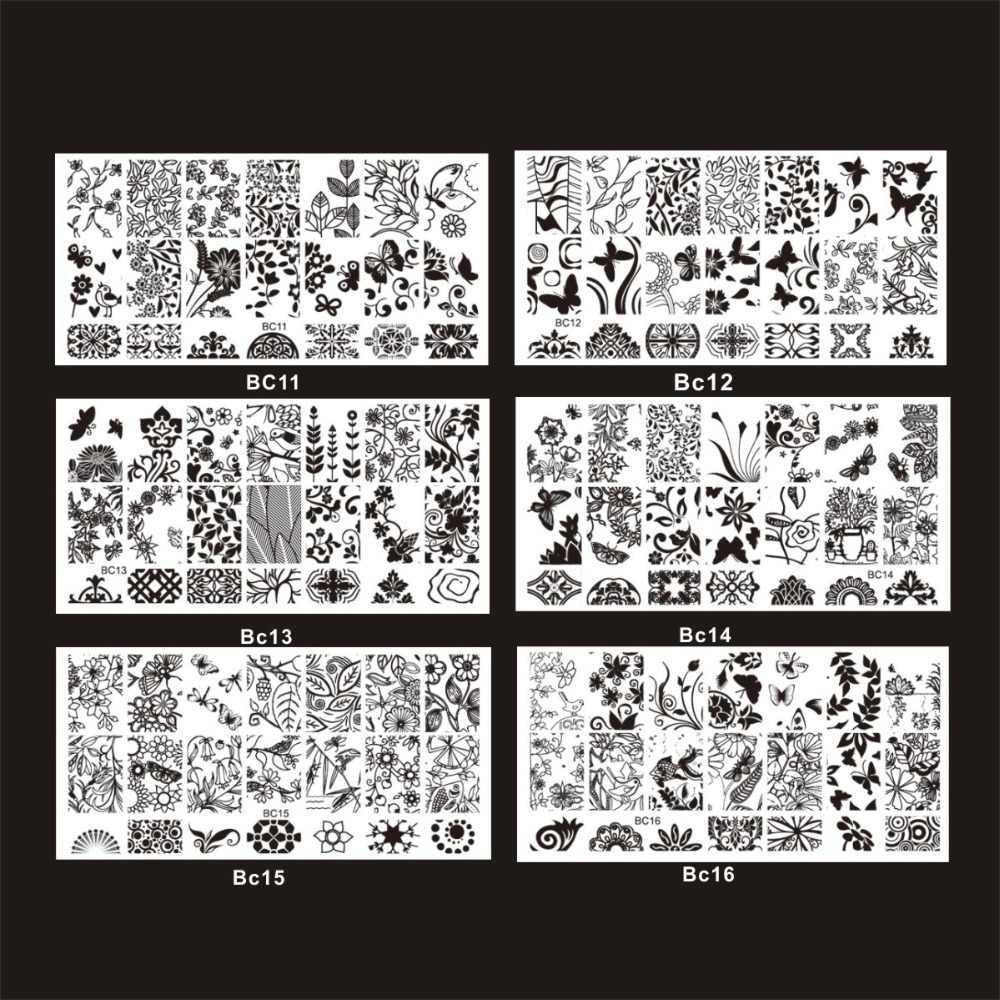 ชุดใหม่ DIY ลูกไม้ดอกไม้/ผีเสื้อสไตล์สแตนเลสสตีลเล็บปั๊มแสตมป์ภาพพิมพ์เล็บ Art