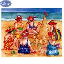 Вышивка бисером Пляжная летняя Алмазная картина толстой леди