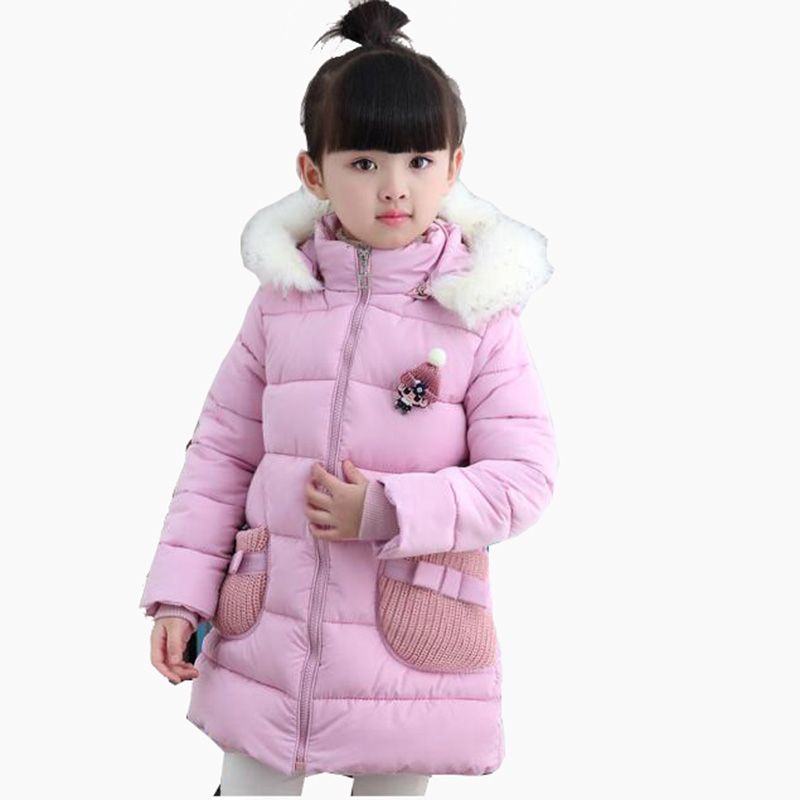 Children Girls Winter Long Down Jacket Coat For Girls Clothes Kids Warm Thick Fur Collar Hooded Coats 2 4 6 5 8 Years 2018 New winter baby girl coats kids warm long thick hooded jacket for girls 2017 casual toddler girls clothes children outerwear
