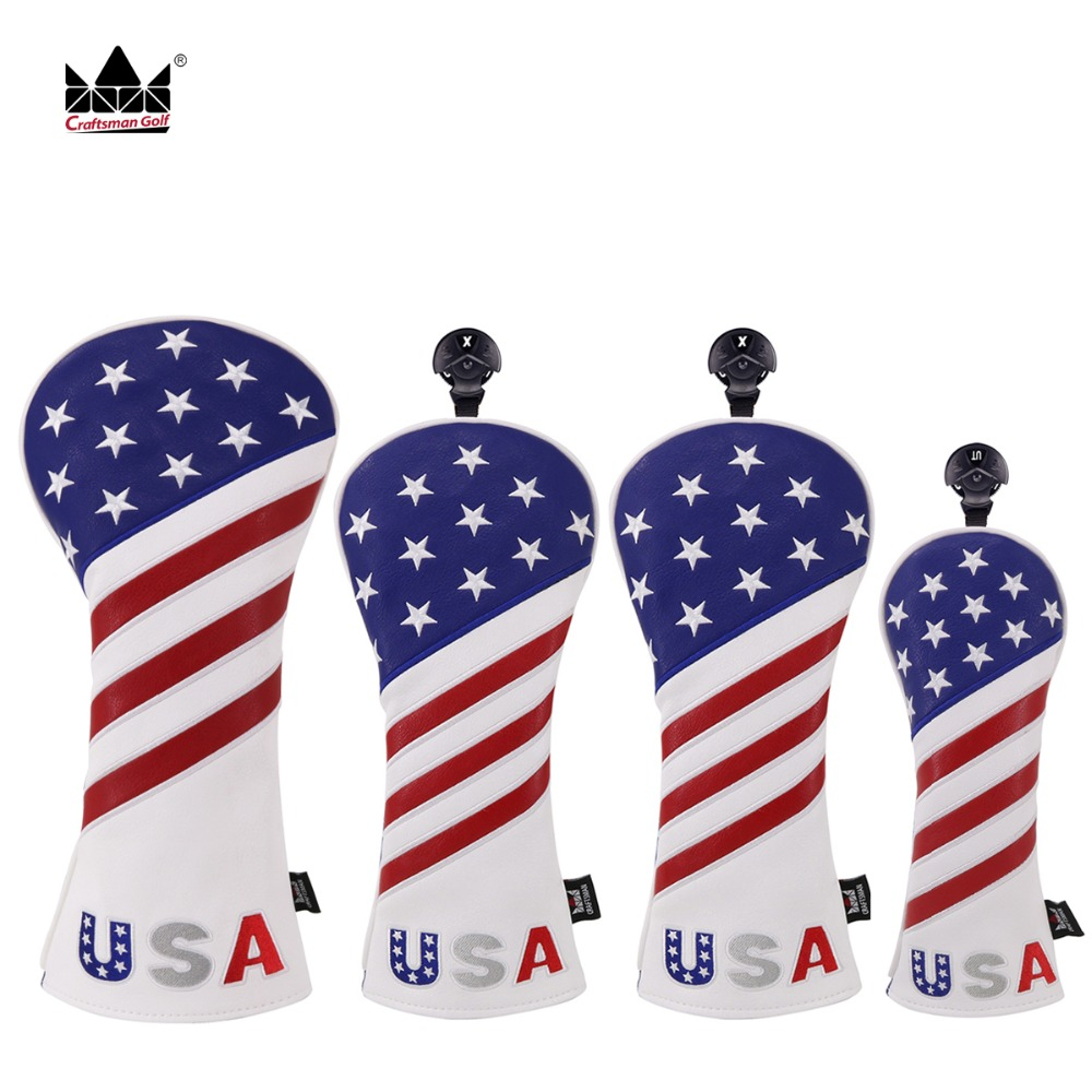 Craftsman Golf Headcover Sets For Woods Headcover Driver Fairway Hybrid/Utility USA Flag Headcovers 4pcs/set Free Shipping