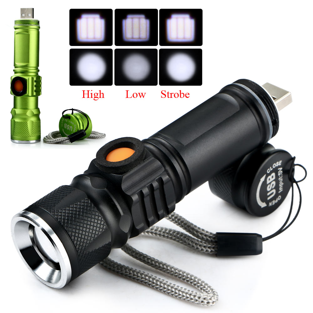 Portable Ultra Bright CREE Q5 2000LM USB LED Flashlight Pocket waterproof Rechargeable Torch Built-in battery cree q5 led pocket flashlight 120lm ipx 6 waterproof torch