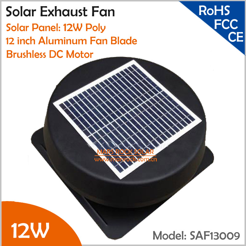Brushless 12inch 12W Solar Exhaust Fan with AC charger Round Solar Attic Fan with Fixed Solar Panel to Keep House Cool and Dry