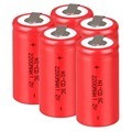 High quality ! 15 PCS Sub C SC battery rechargeable battery 1.2V 2200mAh Ni-Cd Ni-Cd Battery Batteries -Red Color 4.25*2.2cm