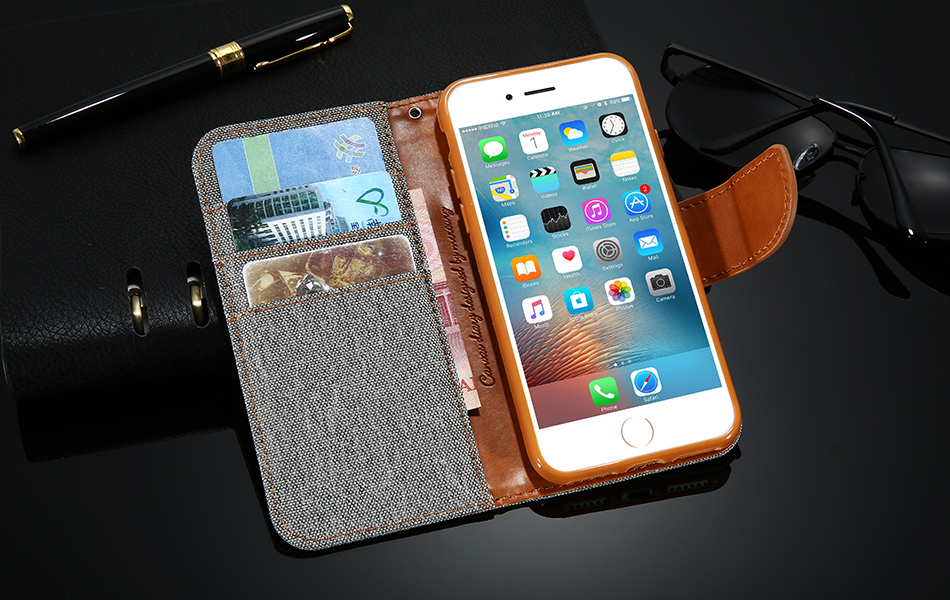DOEES Luxury Stand Wallet Flip Cases For iPhone 6 6S Plus 7 5 5S SE Fashion Card Slot Leather Cover For iPhone 7 6 5 S With LOGO (17)