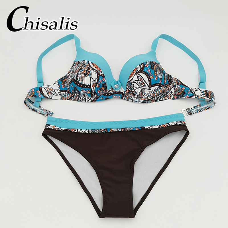 2018 Sexy Bikini Push Up Women Swimsuit Print Top biquini Brazilian bikinis Set Swim Bathing Suit Girl Beachwear Female Swimwear 1