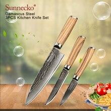 SUNNECKO 3 шт. Кухня Набор ножей Дамаск шеф-повар Ножи японский VG10 Сталь оригинальная деревянная ручка Sharp утилита нож для снятия кожуры Ножи