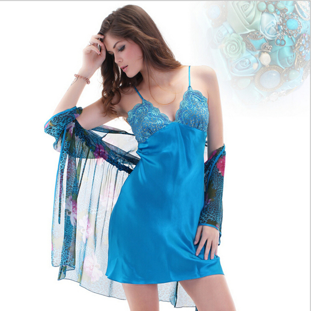 d871f2ce05 Beautiful Floral Robe and Satin Nightgown Chiffon Robe Women and Satin Slip  Tracksuit Satin Sleepwear
