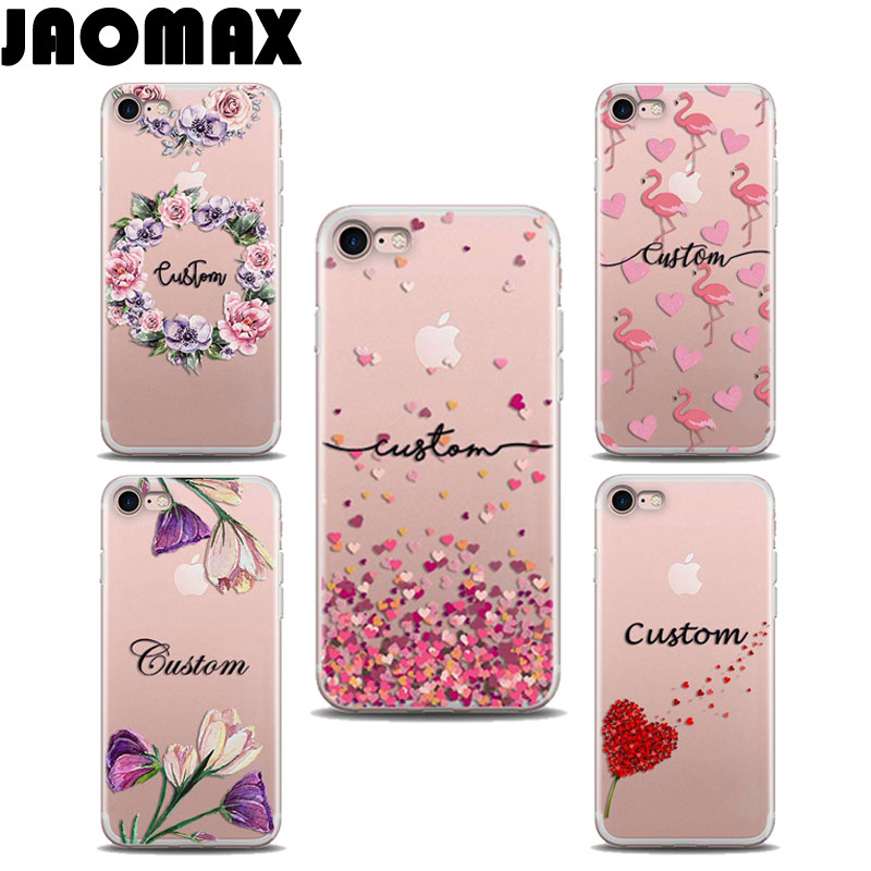 Jaomax DIY Personalized Custom Name Case For iPhone 7 8 6 6s PLUS X Transparent Silicone Pink Flower Heart Flamingo Phone Cover