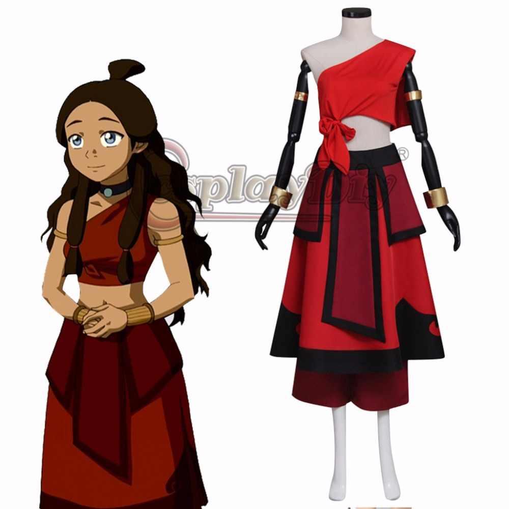 Katara Red Dress Cosplay AvatarThe Last Airbender Adult\u0027s Custom Made Top  Skirt Costume Cosplay for Halloween Carnival Party