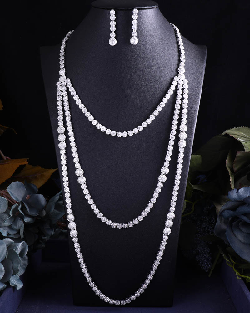 ACCKING New design long Chain Bridal Cubic Zirconia Necklace Earrings Sets For Women Wedding Jewelry Sets ACCKING New design long Chain Bridal Cubic Zirconia Necklace Earrings Sets For Women Wedding Jewelry Sets