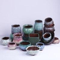 Coarse Pottery Flower Pot Color Glaze Hand Painted Pottery Meat Plants Potted Art Personalized Simple Succulent