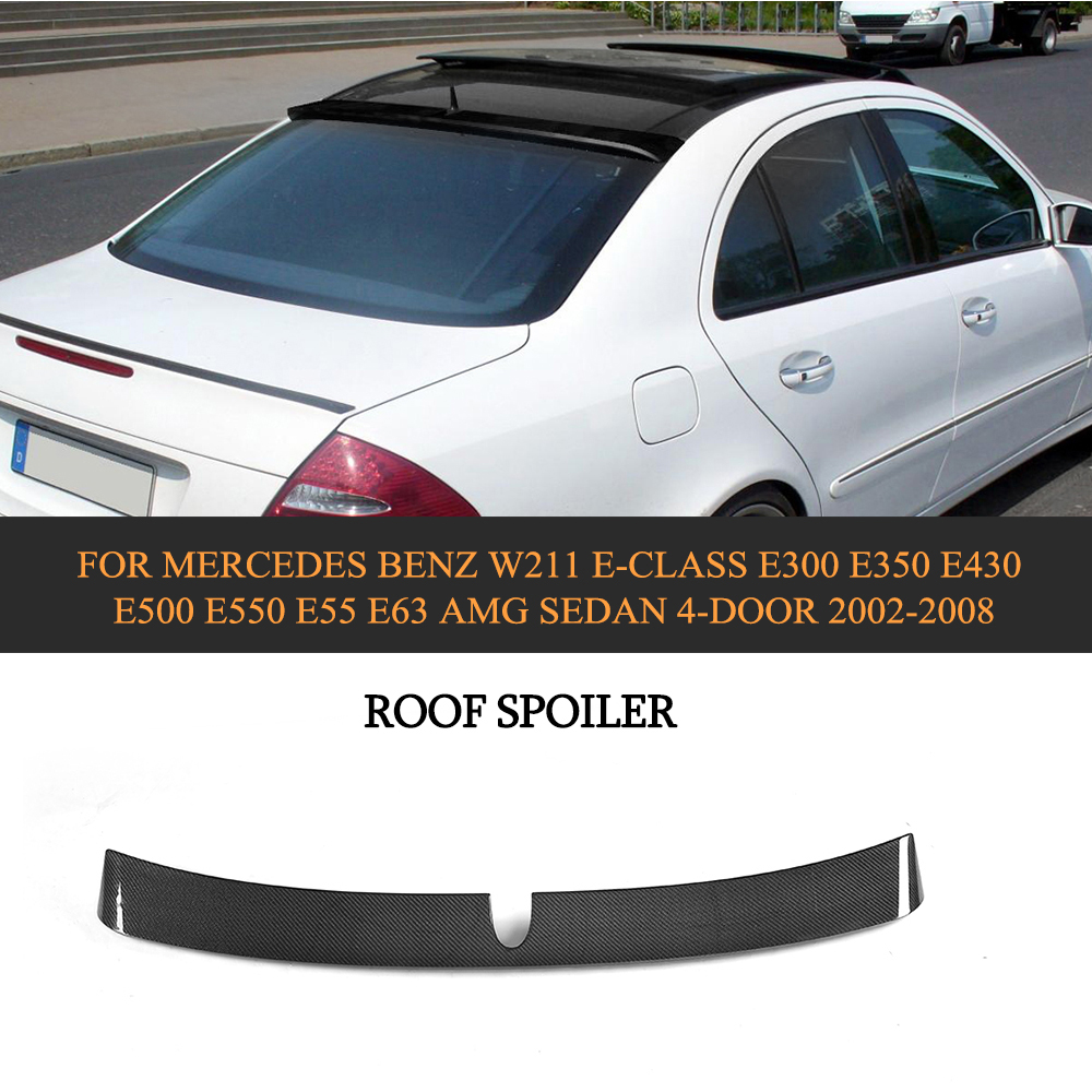 Car Style Carbon Fiber Car Rear Roof Spoiler Wing Lip For Mercedes Benz W211 E Class E300 E430 E500 E55 E63 AMG Sedan 2002-2008 carbon fiber car rear bumper extension lip spoiler diffuser for bmw x6 e71 e72 2008 2014 xdrive 35i 50i black frp