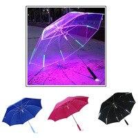 7 Color Changing Color LED Luminous Umbrella Rain Kids Adult Flashlight Light Umbrella E2S