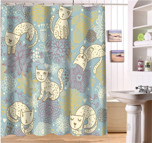 Abstract Sketch Cat Black White Bath Curtain Custom Polyester Fabric Printing Modern Shower Bathroom Waterproof