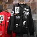 Harajuku Padrão Mulheres Outwear Jaqueta de Manga Longa Letras Pretas Jaquetas Costura Motocicleta 1405