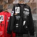 Harajuku Women Pattern Outwear Long Sleeve Bomber Jacket Black  Letters Jackets Stitching Motorcycle 1405