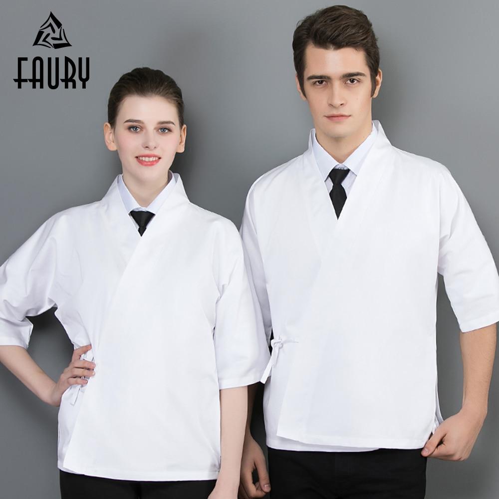 Chef Sushi Uniform 100% Cotton Cook Jacket Unisex Restaurant Kitchen Bakery Waiter Work Wear High Quality Overalls White Black