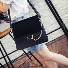 2016 New Women nubuck Scrub Face Suede Buffed Leather Messenger Bags Ladies Flap Circle Ring Chain Crossbody Shoulder Bag