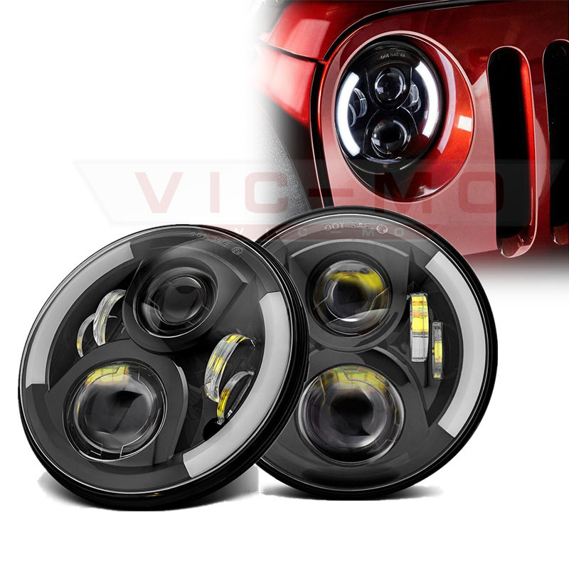 7 Inch Round Daymaker Projector H4 LED Headlight For Jeep Wrangler JK TJ LJ 7 Halo