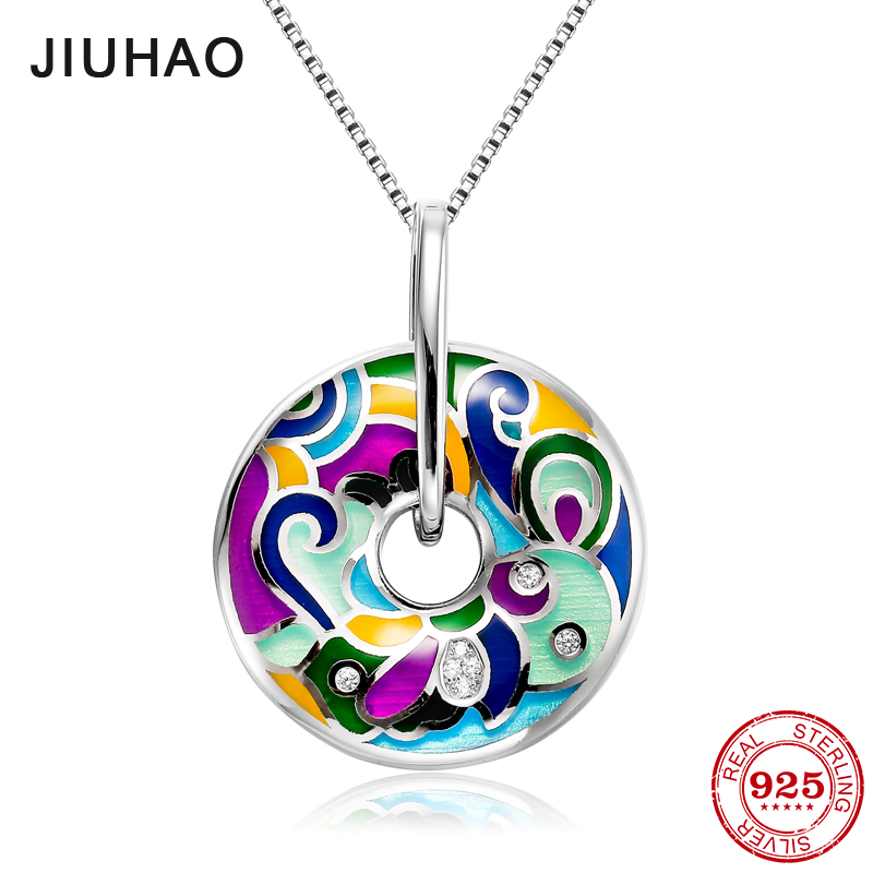 2018 hot like colorful oil painting for women 925 Sterling Silver fashion Pendant luxury  Party Jewelry Enamel 2018 hot like colorful oil painting for women 925 Sterling Silver fashion Pendant luxury  Party Jewelry Enamel