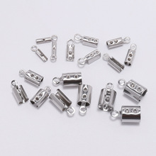 50 pcs Stainless Steel Leather Cord clasp End Clasps Crimp Bead Connectors For Jewelry Making Findings DIY Accessories Supplies