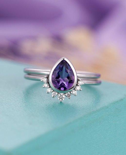 Myray Natural Pear Shaped Cut Amethyst Wedding Ring Set Diamond Band