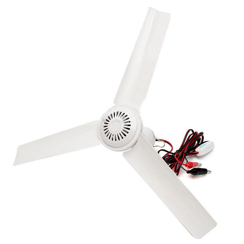 3 Leaves 12V 0.5A 6W Solar 3 Blade Ceiling Emergency Fan Powerful Caravan Camping With/without Switch 10㎡  2.5 M Cord
