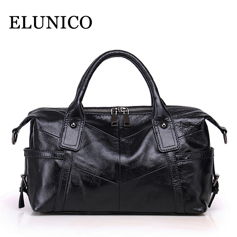 ELUNICO Women Genuine Leather Handbag Lady's Cowhide Shoulder Bags Handbags Women Famous Brands Boston Crossbody Messenger Bag soft cowhide genuine leather women shoulder bags fashion handbags simple european style boston messenger bag pillow female packs