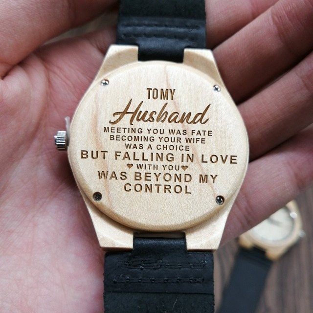 Engraved Wooden Watch To My Husband Falling In Love With You Was