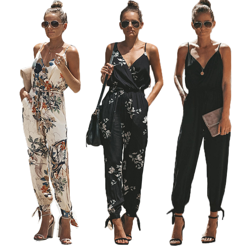 2019 Summer Bodysuit Women Casual Sleeveless V-neck Lace Up   Jumpsuit   Long Rompers Plus Size   Jumpsuits   Rompers Womens   Jumpsuit