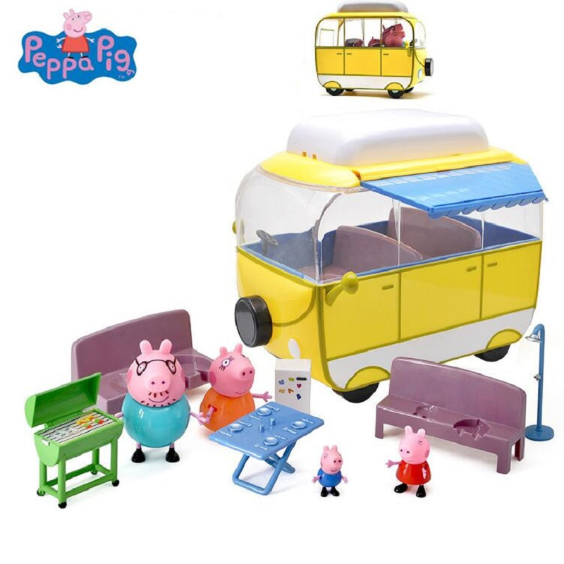 Peppa George pig Family car Pack Camping car Action Figures suit Peppa pink Pig Figura Kids Birthday Gift Toy peppa pig george s balloon