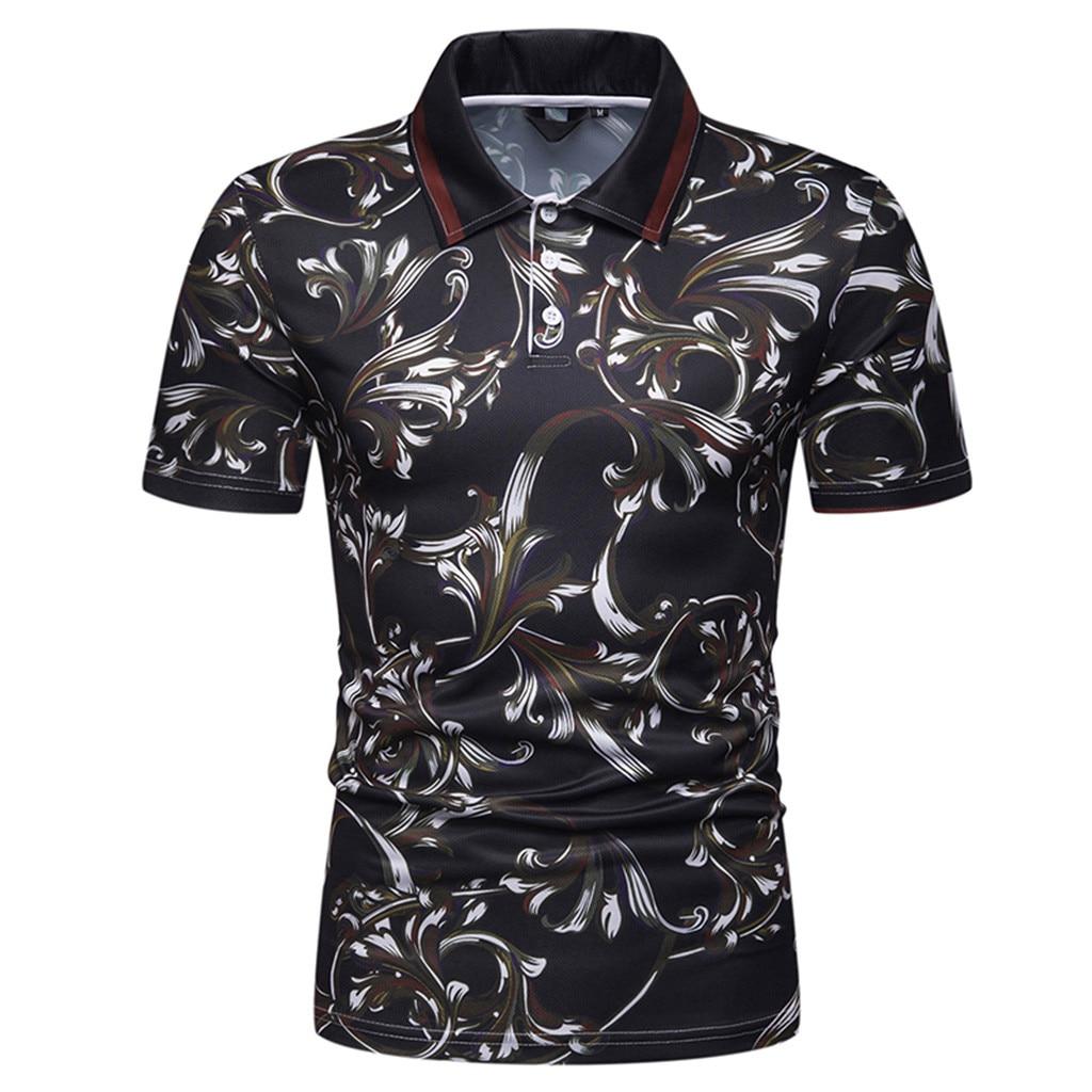 2019   Polo   Short Sleeve Flower Print   Polo   Shirt Men Casual Top Brand Slim Fit Shirts Men's Clothing Business   Polo   Shirt