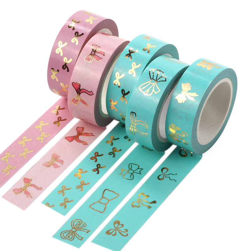 1X Foil Washi Tape 15mm*10m Pink Tulip Bow Tie Scrapbooking Tools Cute Adhesiva Decorativa Japanese Stationery Washi Tapes new 2x christmas golden foil washi paper tape pink background golden washi tape 15mm 10m