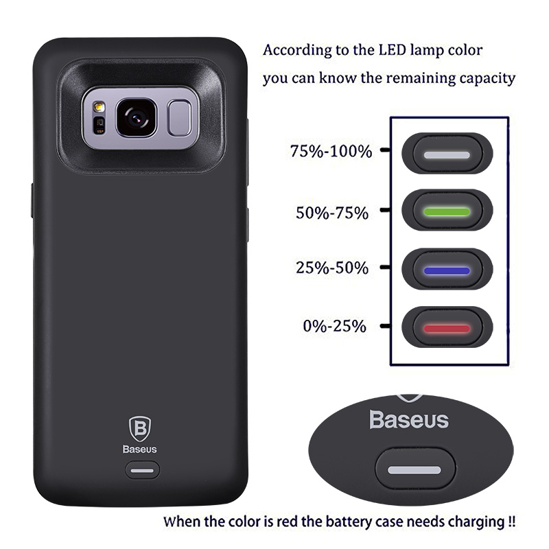 newest collection d46bd be7e0 US $34.03 |BASEUS Battery Charger Case For Samsung Galaxy S8 / S8 Plus  5000/5500mAh Battery Case Cover External Backpack Power Bank Case-in  Battery ...