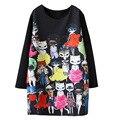 2016 Del Otoño Del Resorte Nuevas Mujeres de La Manera Visten Kpop Gato de Dibujos Animados Impreso de Manga Larga Vestidos de Negro Mini Vestido Más Del Tamaño Vestidos