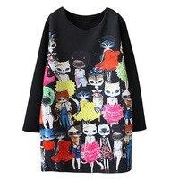 2016 Spring Summer New Fashion Women Dress Kawaii Cat Cartoon Printed Long Sleeve Black Dresses Miss