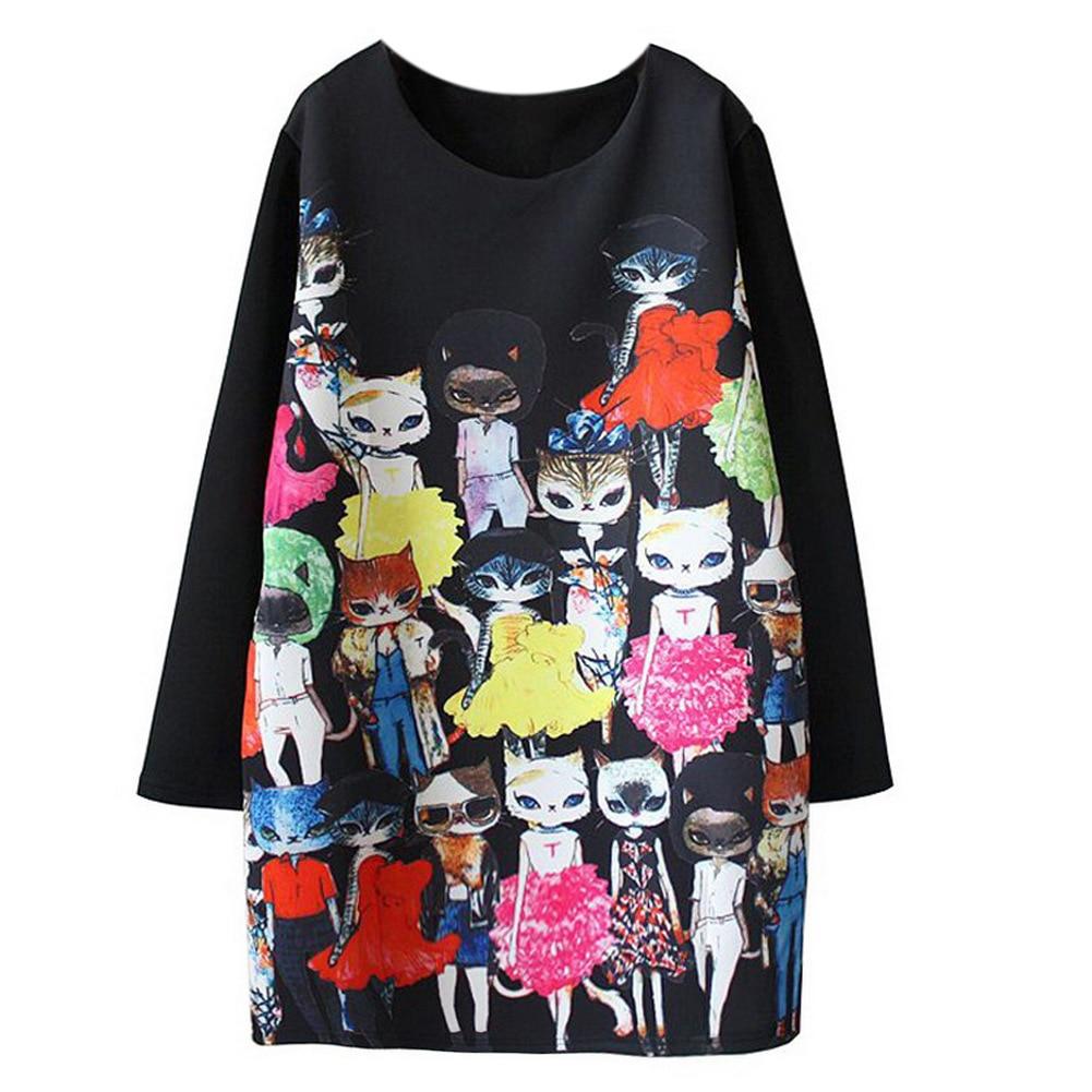 2017 Spring Autumn Fashion Women font b Dress b font Kpop Cat Cartoon Printed Long Sleeve