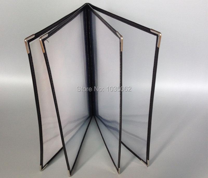 4 Sheets Panel A4 Transparent Menu Cover 8 Views Black Red Frames
