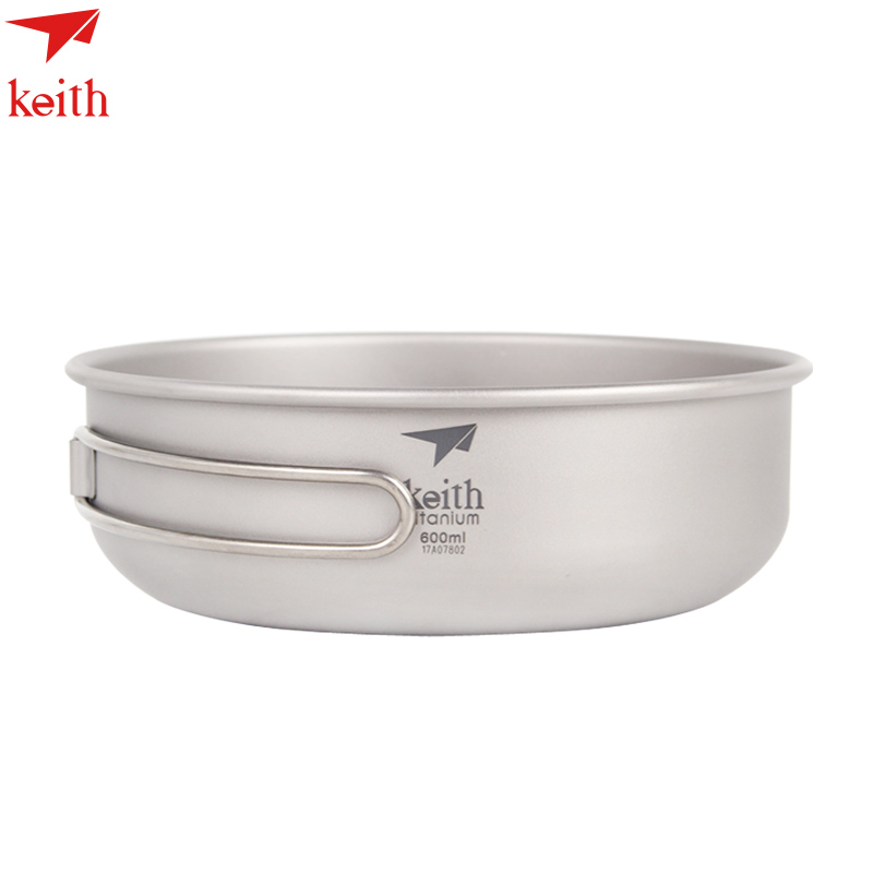 Keith Folding Titanium Bowl Healthy Camping Pot Frying Pan Outdoor Tableware Ti5323-Ti5326 keith pure titanium double wall water mugs with folding handles drinkware outdoor camping cups ultralight travel mug 450ml 600ml