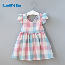 2018 Brand New Toddler Infant Child Kid Baby Girl Princess Dress Checked Pageant Wedding Party Tutu Dresses Sleeveless Sundress