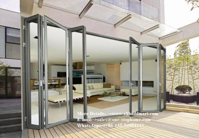 Aluminium Bi Transparent Partition Soundproof Insulated Accordion Patio Pella Room Divider Glass Aluminum Folding Door