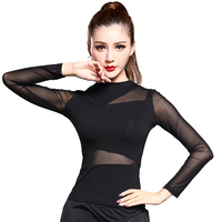 Vogue Black Persepctive Gauze Sexy Long Sleeve Top For Women Female Lady New Fashion Ballroom Costume