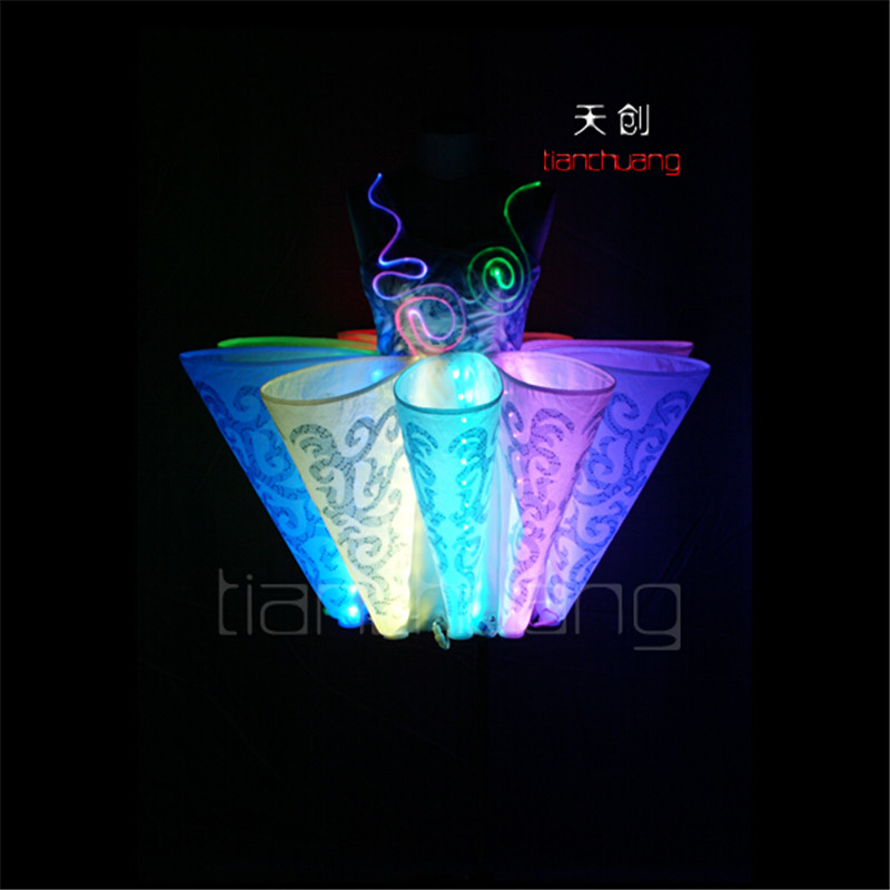 TC-10 Ballroom programmable dance ballet led dress Full color colorful light women costumes party skirt wear clothe performance