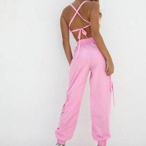 Image 5 - Yaz şeker pembe iki parçalı Set kadın eşleşen seti üst ve pantolon kadın Jogger seti kadınlar pembe kıyafet kırpma üst ve Joggers