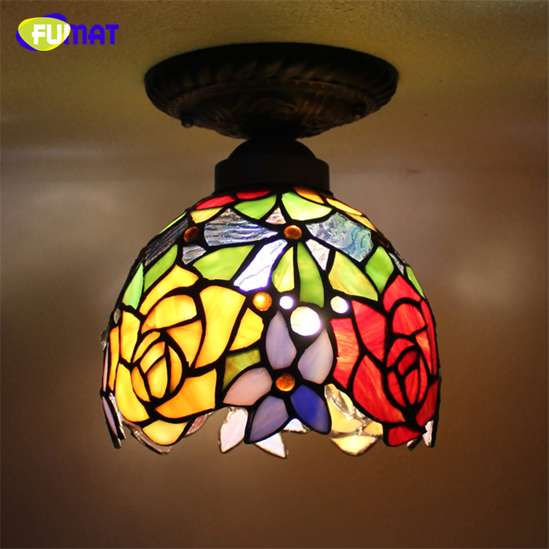 FUMAT Glass Ceiling Lamp European Baroque Stained Glass Indoor Light Fixtures For Balcony Front porch Aisle LED Ceiling Lights fumat stained glass pendant lamps european style glass lamp for living room dining room baroque glass art pendant lights led