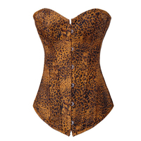 High Quality Tighten Lacing Strap Corsage Sexy Leopard Corset Bustier Crop Top Burlesque Costumes Hot Shapers
