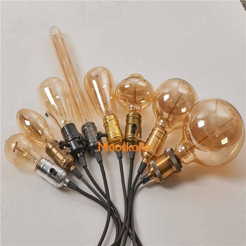 Luz pingente de alumínio e27 suporte da lâmpada para 110 v 220 v led/incandescente edison lâmpada retro vintage decoração lâmpada de suspensão para casa/sala