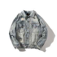 Men Distressed Demin Jacket Hip Pop Fashion Long Sleeve Jean Coat  Streetwear Hollow Out