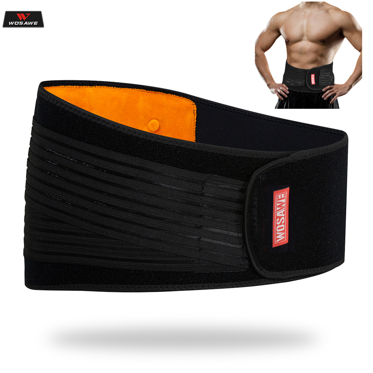 WOSAWE Motorcycle Back Support Lumbar brace Belt Protection Moto Motocross Protective Breathable Elastic Adjust Waist Protector Protective Gears Accessories     - title=
