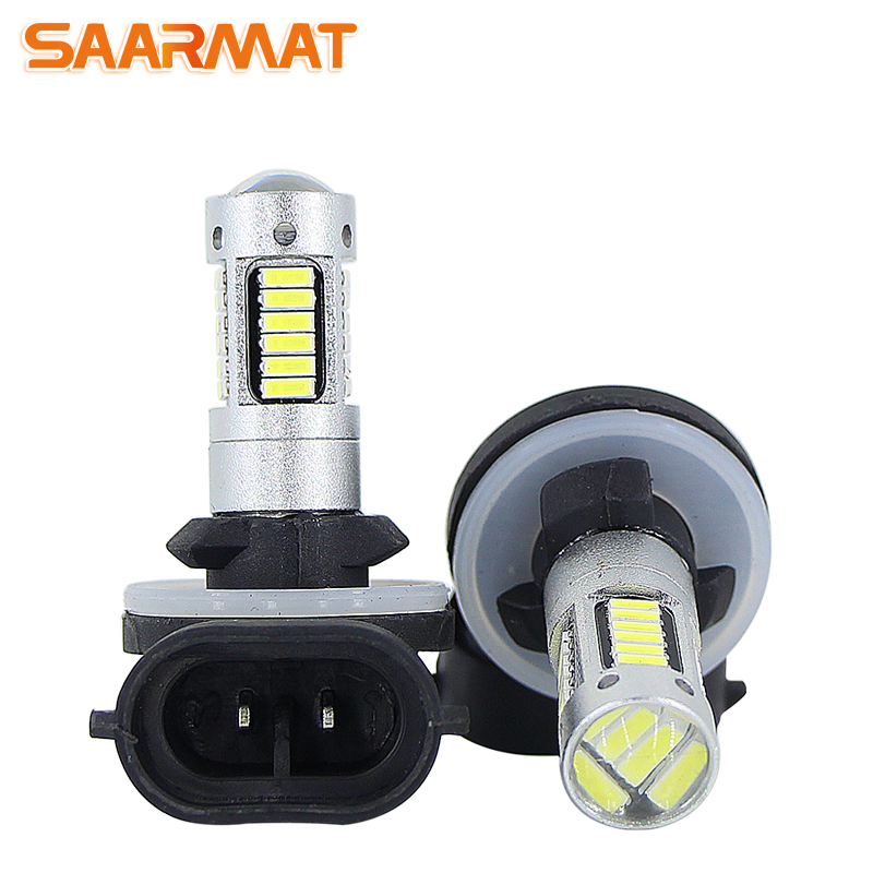SAARMAT 2* High Power 6000K White 30-SMD 4014 881 889 H27 <font><b>H1</b></font> H3 <font><b>LED</b></font> Replacement Bulbs For Car Fog Daytime Runng Lights <font><b>DRL</b></font> Lamps image